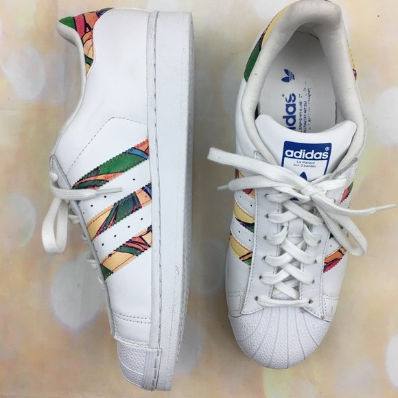 size 40 ab454 f76cd Adidas superstar white multi tropical sneakers